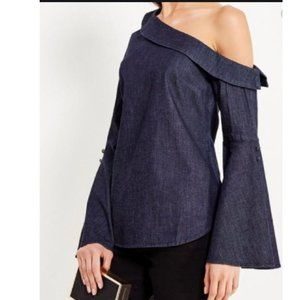 Banana Republic Off one shoulder denim top Sz 6